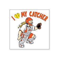 """orange, I love my catcher Square Sticker 3"""" x 3"""""""
