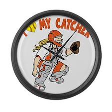 orange, I love my catcher Large Wall Clock