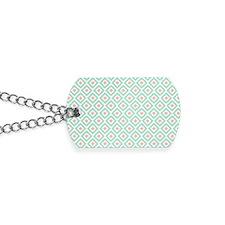 Mint Coral  Diamond Ikat Pattern Dog Tags