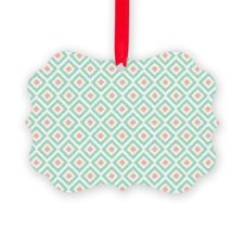 Mint Coral  Diamond Ikat Pattern Ornament