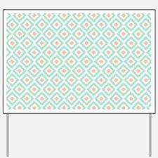 Mint Coral  Diamond Ikat Pattern Yard Sign