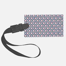 Navy Coral  Diamond Ikat Pattern Luggage Tag