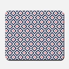 Navy Coral  Diamond Ikat Pattern Mousepad
