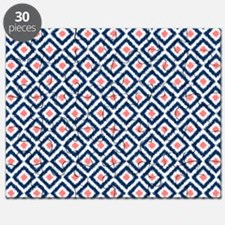 Navy Coral  Diamond Ikat Pattern Puzzle