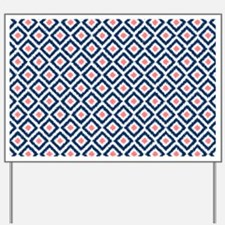 Navy Coral  Diamond Ikat Pattern Yard Sign