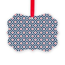 Navy Coral  Diamond Ikat Pattern Ornament