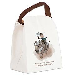 Princess on a Unicorn (Grow Up) Canvas Lunch Bag