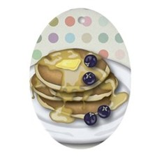 Pancakes With Syrup And Blueberries Oval Ornament
