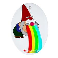 Garden Gnome Vomit Oval Ornament