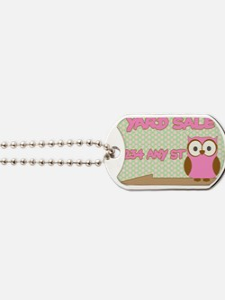 Owl with polka dot yard sale sign Dog Tags
