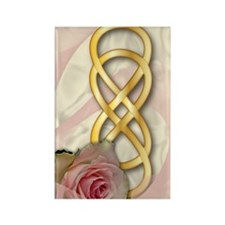 Double Infinity Gold With Pink Ro Rectangle Magnet