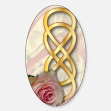 Double Infinity Gold With Pink Rose Sticker (Oval)