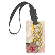 Double Infinity Gold With Pink R Luggage Tag