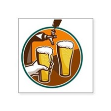 """Beer Pint Glass Hand Tap Re Square Sticker 3"""" x 3"""""""