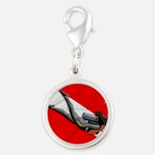 Dive Flag Silver Round Charm