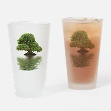 Ficus bonsai with water reflection Drinking Glass