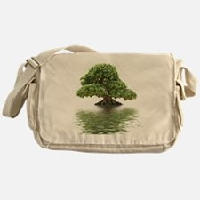 Ficus bonsai with water reflection Messenger Bag