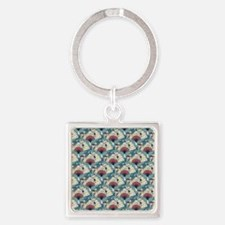 Oriental Fans and Cranes Square Keychain
