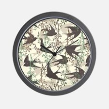 Swallow and willow tree Wall Clock