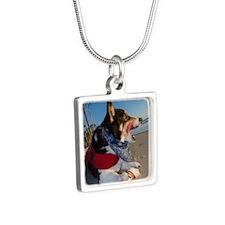 Corgi Licking his Chops Silver Square Necklace