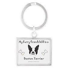 boston terrier Landscape Keychain