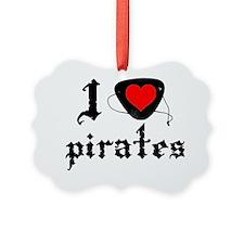 i heart patch pirates dark Ornament