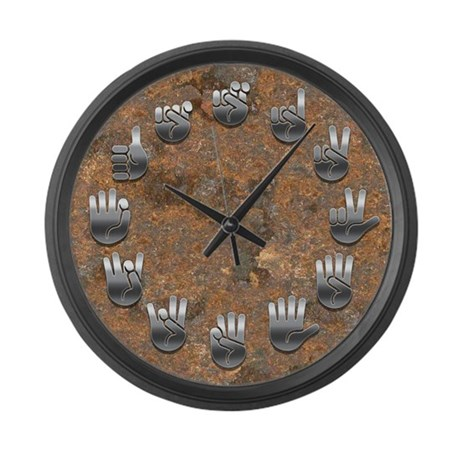 sign-lang-rusty-CLK Large Wall Clock