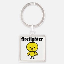 Firefighter Chick Square Keychain