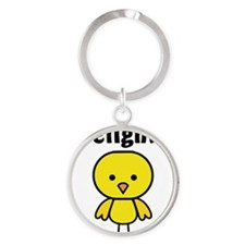 Firefighter Chick Round Keychain