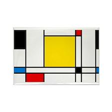 Mondrian Lines Rectangle Magnet