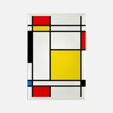 Mondrian Lines Rectangle Magnet