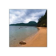 "Kauai Hanalei Bay Beach Square Sticker 3"" x 3"""
