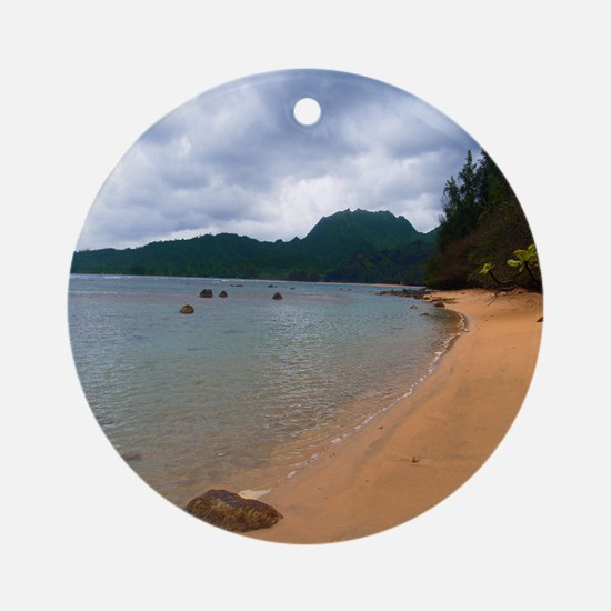 Kauai Hanalei Bay Beach Round Ornament