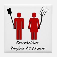 Revolution Begins At Home Tile Coaster