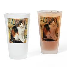 Calico Kitten Cat Drinking Glass