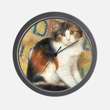 Calico Kitten Cat Wall Clock