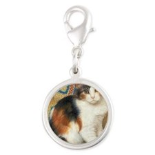 Calico Kitten Cat Silver Round Charm