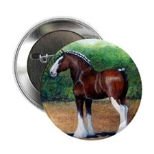 """Clydesdale Draft Horse 2.25"""" Button"""