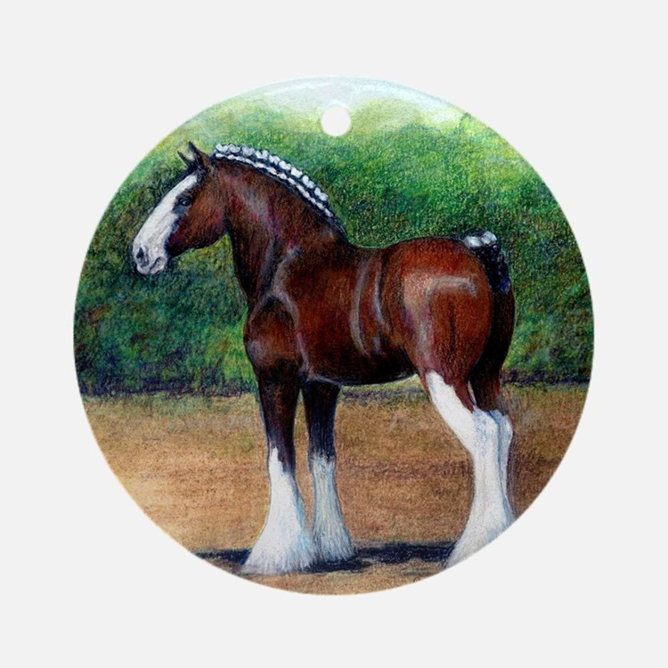 Clydesdale Draft Horse Round Ornament