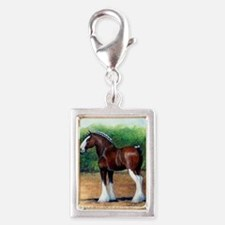 Clydesdale Draft Horse Silver Portrait Charm