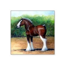 "Clydesdale Draft Horse Square Sticker 3"" x 3"""