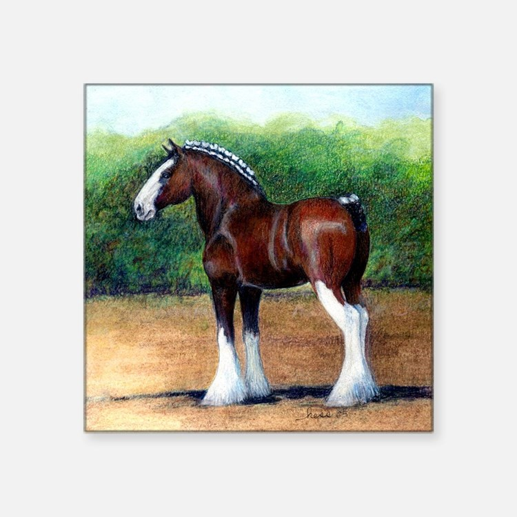 """Clydesdale Draft Horse Square Sticker 3"""" x 3"""""""