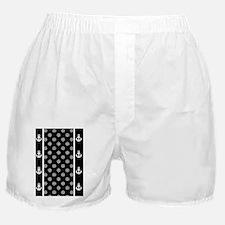 Black and White Ship Wheels Anchors Boxer Shorts