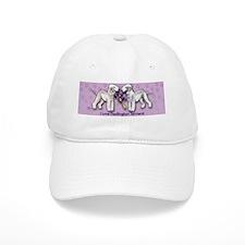 Bedlington Terriers on Purple Background Cap
