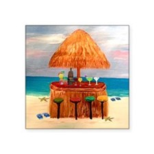 "Beach Tiki Bar Square Sticker 3"" x 3"""