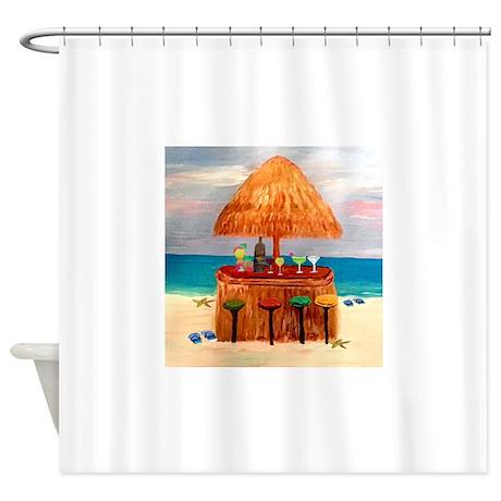 Beach Tiki Bar Shower Curtain by Admin CP