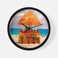 Beach Tiki Bar Wall Clock