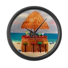 Beach Tiki Bar Large Wall Clock