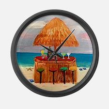 Beach Tiki Bar Large Wall Clock