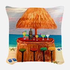 Beach Tiki Bar Woven Throw Pillow